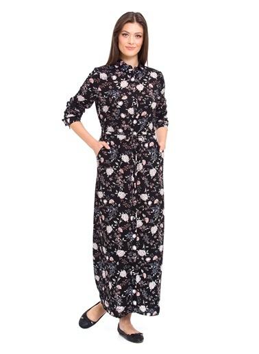 LC Waikiki Çiçekli Uzun Elbise Siyah